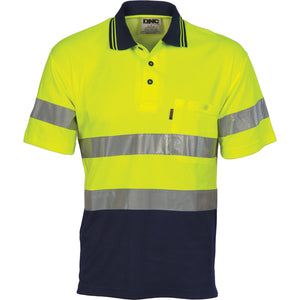 DNC Workwear-DNC HiVis Cotton Back S/S Polo with generic R/T-XS / Yellow/Navy-Uniform Wholesalers - 2