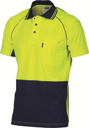 DNC Workwear-DNC HiVis Cotton Backed Cool-Breeze Contrast Polo - S/S > 185gsm Polyester outer/Cotton Backed Polo-XS / Yellow/Navy-Uniform Wholesalers - 2