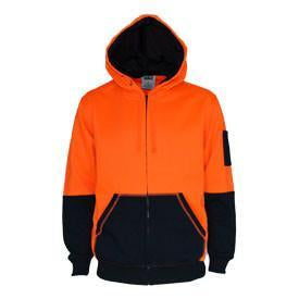 DNC Workwear-DNC Hivis 2 tone full zip super fleecy hoodie-XS / Orange/Navy-Uniform Wholesalers - 2