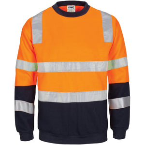 DNC Workwear-Hivis 2 Tone, Crew-neck Fleecy Sweat Shirt With Shoulders, Double Hoop Body And Arms Csr R/tape-XS / Orange/Navy-Uniform Wholesalers - 2