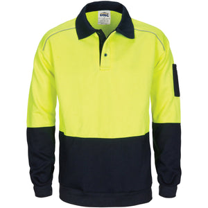 DNC Workwear-DNC HiVis Rugby Top Windcheater with Two Side Zipped Pockets-XS / Yellow/Navy-Uniform Wholesalers - 1