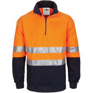 DNC Workwear-DNC HiVis 1/2 Zip Fleecy with Hoop Pattern CSR Reflective Tape-XS / Orange/Navy-Uniform Wholesalers - 2