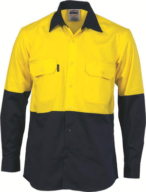 DNC Workwear-DNC HiVis Cool-Breeze Vertical Vented L/S Cotton Shirt-XS / Yellow/Navy-Uniform Wholesalers - 1