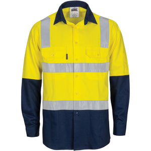 DNC Workwear-DNC HIVIS Two Tone Cool-Breeze Cotton Shirt with Hoop & Shoulder CSR Reflective Tape - Long Sleeve-Yellow/Navy / XS-Uniform Wholesalers - 1