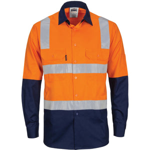 DNC Workwear-DNC HIVIS Two Tone Cool-Breeze Cotton Shirt with Hoop & Shoulder CSR Reflective Tape - Long Sleeve-Orange/Navy / XS-Uniform Wholesalers - 2