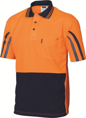 DNC Workwear-DNC HiVis Cool Breathe Printed Stripe Polo-XS / Orange/Navy-Uniform Wholesalers - 1