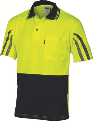 DNC Workwear-DNC HiVis Cool Breathe Printed Stripe Polo-M / Yellow/Navy-Uniform Wholesalers - 2