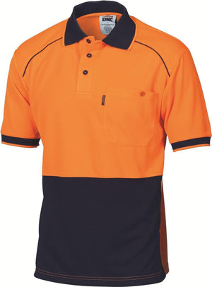 DNC Workwear-DNC HiVis Cool Breathe HiVis Cool Breathe Front Piping Polo-XS / Orange/Navy-Uniform Wholesalers - 1