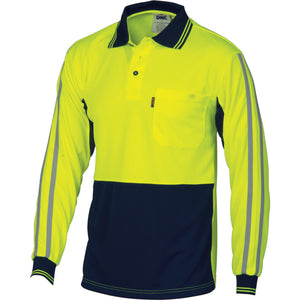 DNC Workwear-DNC HiVis Cool-Breathe Stripe Polo - long Sleeve-XS / Yellow/Navy-Uniform Wholesalers - 1