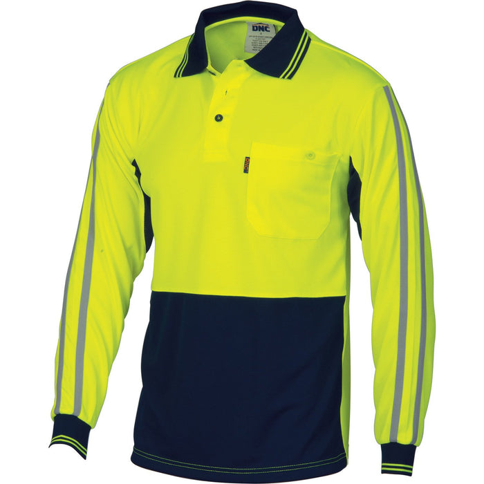 DNC HiVis Cool-Breathe Stripe Polo - long Sleeve (3756)