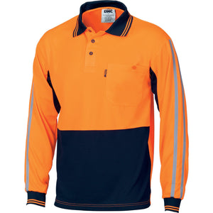 DNC Workwear-DNC HiVis Cool-Breathe Stripe Polo - long Sleeve-XS / Orange/Navy-Uniform Wholesalers - 2