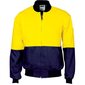 DNC Workwear-DNC HiVis Two Tone Cott on Bomber Jacket-XS / Yellow/Navy-Uniform Wholesalers - 1
