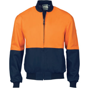 DNC Workwear-DNC HiVis Two Tone Cott on Bomber Jacket-XS / Orange/Navy-Uniform Wholesalers - 2