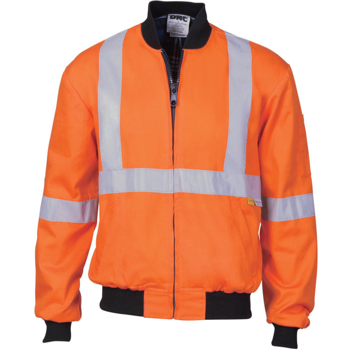 DNC HiVis Cotton Bomber Jacket with 'X' Back & additional CSR R/Tape below (3759)