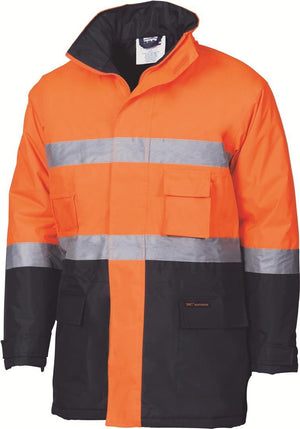 DNC Workwear-DNC HiVis D/N Two Tone Parka > 200D W/Generic Tape-Orange/Navy / XS-Uniform Wholesalers - 1