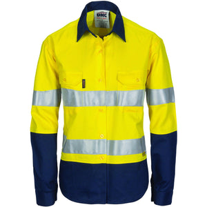 DNC Workwear-DNC Ladies HiVis Two Tone Cool-Breeze Cotton Shirt with 3M R/T-Yellow/Navy / 8-Uniform Wholesalers - 2