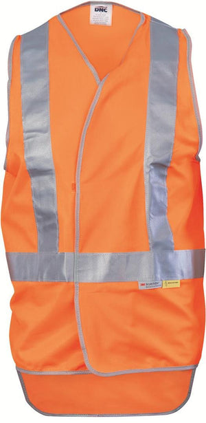 DNC Workwear-DNC Day & Night Cross Back Safety Vest with Tail-M / Orange-Uniform Wholesalers - 1