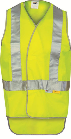 DNC Workwear-DNC Day & Night Cross Back Safety Vest with Tail-S / Yellow-Uniform Wholesalers - 2