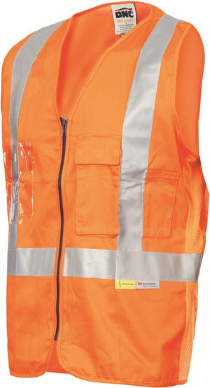 DNC Workwear-DNC Day/Night Cross Back Cotton Safety Vests-S / Orange-Uniform Wholesalers - 1