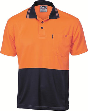 DNC Workwear-DNC HiVis Two Tone Fluoro Polo Shirt, Micromesh, S/S > 175 gsm Polyester Micromesh-XS / Orange/Navy-Uniform Wholesalers - 1