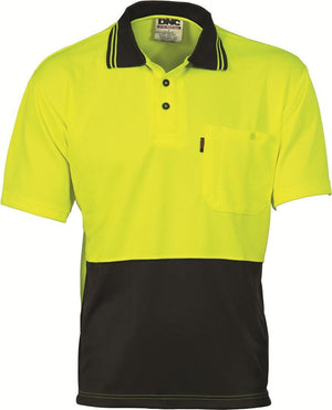 DNC Workwear-DNC HiVis Two Tone Fluoro Polo Shirt, Micromesh, S/S > 175 gsm Polyester Micromesh-L / Yellow/Black-Uniform Wholesalers - 2