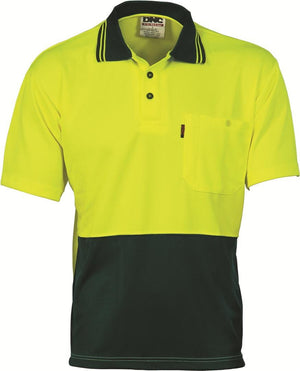 DNC Workwear-DNC HiVis Two Tone Fluoro Polo Shirt, Micromesh, S/S > 175 gsm Polyester Micromesh-XS / Yellow/Bottle Green-Uniform Wholesalers - 3
