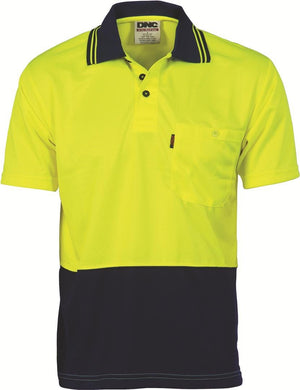DNC Workwear-DNC HiVis Two Tone Fluoro Polo Shirt, Micromesh, S/S > 175 gsm Polyester Micromesh-XS / Yellow/Navy-Uniform Wholesalers - 4