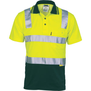 DNC Workwear-DNC HiVis Cotton Back Two Tone S/S Polo Shirt with 3M R/T-Yellow/Bottle Green / XS-Uniform Wholesalers - 2