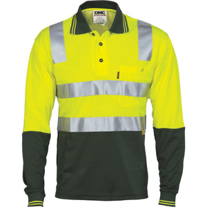 DNC Workwear-DNC Cotton Back HiVis L/S Two Tone Polo Shirts with 3M RT-Yellow/Bottle Green / XS-Uniform Wholesalers - 1