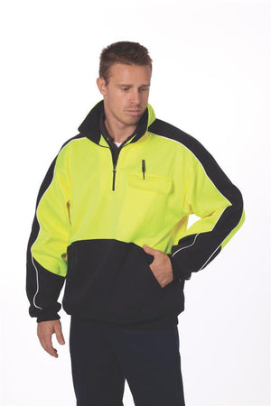 DNC Workwear-DNC HiVis Two Tone 1/2 Zip Hi-Neck Panel Fleecy Windcheater--Uniform Wholesalers - 1