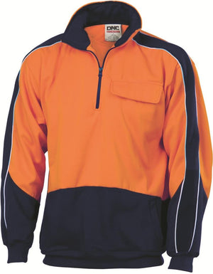 DNC Workwear-DNC HiVis Two Tone 1/2 Zip Hi-Neck Panel Fleecy Windcheater-XS / Orange/Navy-Uniform Wholesalers - 3