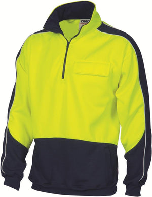 DNC Workwear-DNC HiVis Two Tone 1/2 Zip Hi-Neck Panel Fleecy Windcheater-L / Yellow/Navy-Uniform Wholesalers - 2