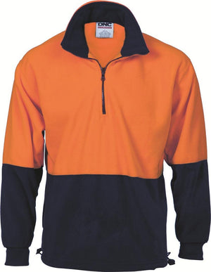 DNC Workwear-DNC HiVis Two Tone 1/2 Zip Polar Fleece-Orange/Navy / XS-Uniform Wholesalers - 1