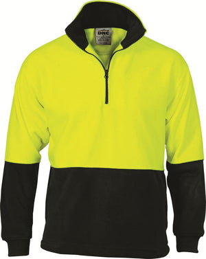 DNC Workwear-DNC HiVis Two Tone 1/2 Zip Polar Fleece-Yellow/Black / XS-Uniform Wholesalers - 2