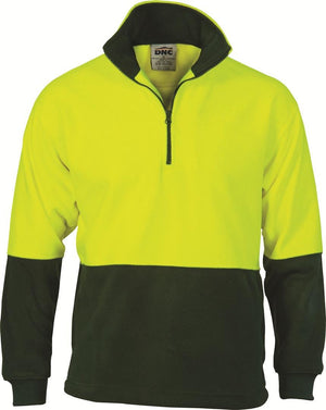 DNC Workwear-DNC HiVis Two Tone 1/2 Zip Polar Fleece-Yellow/Bottle Green / XS-Uniform Wholesalers - 3