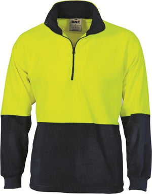 DNC Workwear-DNC HiVis Two Tone 1/2 Zip Polar Fleece-Yellow/Navy / XS-Uniform Wholesalers - 4