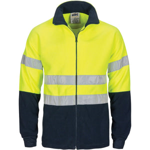 DNC Workwear-DNC HiVis two tone full zip polar fleece with generic R/Tape-L / Yellow/Navy-Uniform Wholesalers - 2