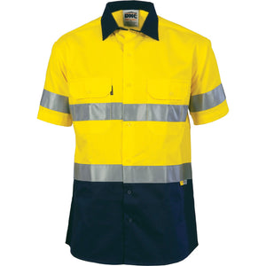 DNC Workwear-DNC HiVis Two Tone Cotton Shirt with 3M 8910 R/Tape, Short Sleeve-Yellow/Navy / M-Uniform Wholesalers - 1