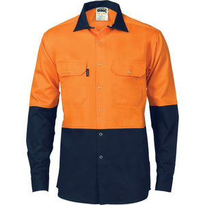 DNC Workwear-DNC HiVis Two Tone Drill Shirt With Press Studs-M / Orange/Navy-Uniform Wholesalers - 2