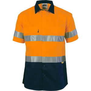 DNC Workwear-DNC HiVis Two Tone Cotton Shirt with 3M 8910 R/Tape, Short Sleeve-Orange/Navy / S-Uniform Wholesalers - 2
