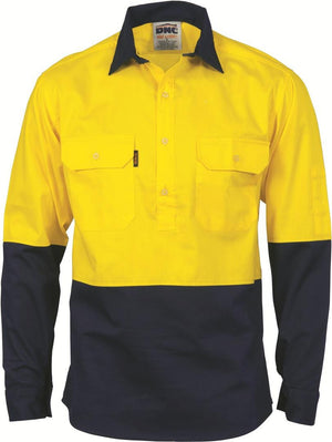 DNC Workwear-DNC HiVis Two Tone Close Front Cotton Drill Shirt - Long Sleeve, Gusset Sleeve-Yellow/Navy / S-Uniform Wholesalers - 2