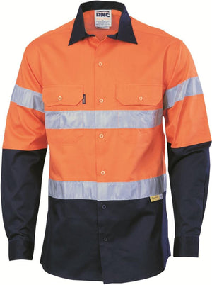 DNC Workwear-DNC HiVis Two Tone Cotton Shirt with 3M 8910 R/Tape, Long Sleeve-S / Orange/Navy-Uniform Wholesalers - 1