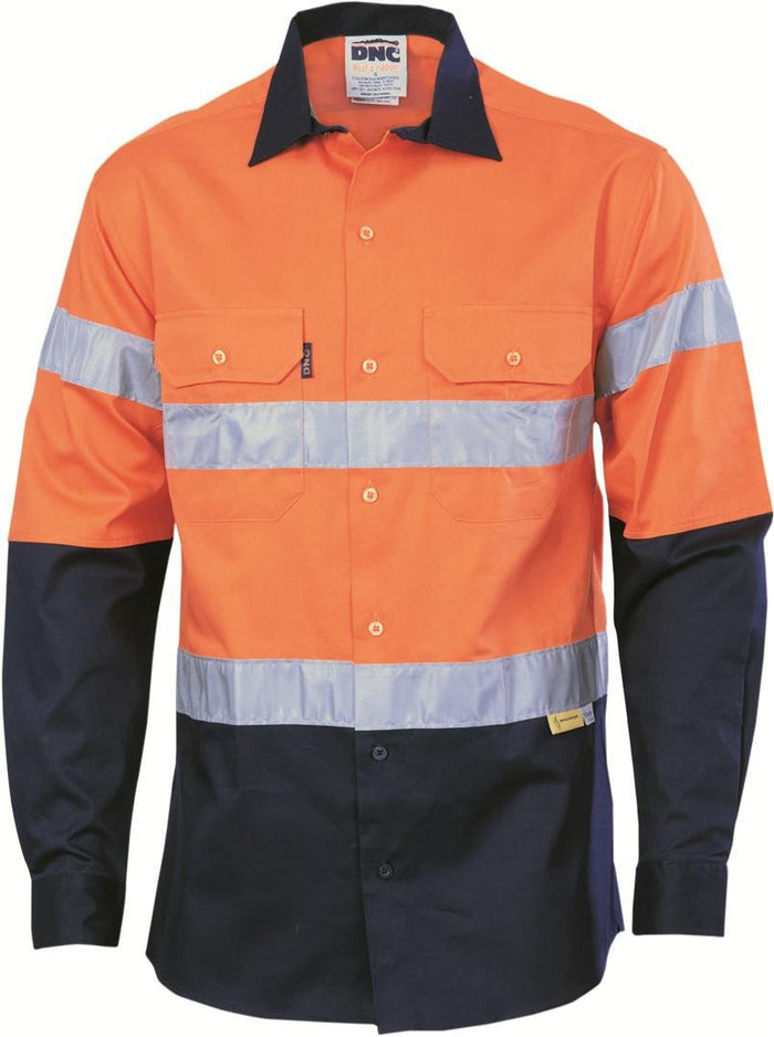 DNC HiVis Two Tone Cotton Shirt with 3M 8910 R/Tape, Long Sleeve (3836)