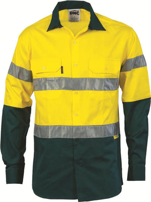 DNC Workwear-DNC HiVis Two Tone Cotton Shirt with 3M 8910 R/Tape, Long Sleeve-S / Yellow/Bottle Green-Uniform Wholesalers - 3