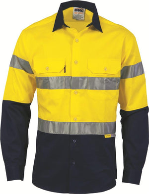 DNC Workwear-DNC HiVis Two Tone Cotton Shirt with 3M 8910 R/Tape, Long Sleeve-M / Yellow/Navy-Uniform Wholesalers - 2