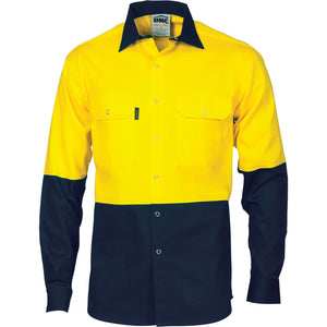 DNC Workwear-DNC HiVis Two Tone Drill Shirt With Press Studs-S / Yellow/Navy-Uniform Wholesalers - 3
