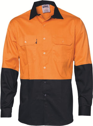 DNC Workwear-DNC HiVis Two Tone Cool-Breeze Cotton Shirt, Long Sleeve-Orange/Navy / S-Uniform Wholesalers - 1