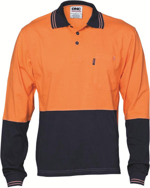 DNC Workwear-DNC HiVis Cool-Breeze Cotton Jersey L/S Polo Shirt with Under Arm Cotton Mesh-XS / Orange/Navy-Uniform Wholesalers - 1