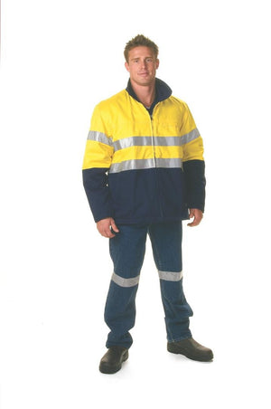 DNC Workwear-DNC HiVis Two Tone Protector Drill Jacket with 3M 8910 R/Tape > 311 gsm Heavyweight--Uniform Wholesalers - 1