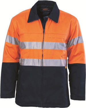 DNC Workwear-DNC HiVis Two Tone Protector Drill Jacket with 3M 8910 R/Tape > 311 gsm Heavyweight-XS / Orange/Navy-Uniform Wholesalers - 3